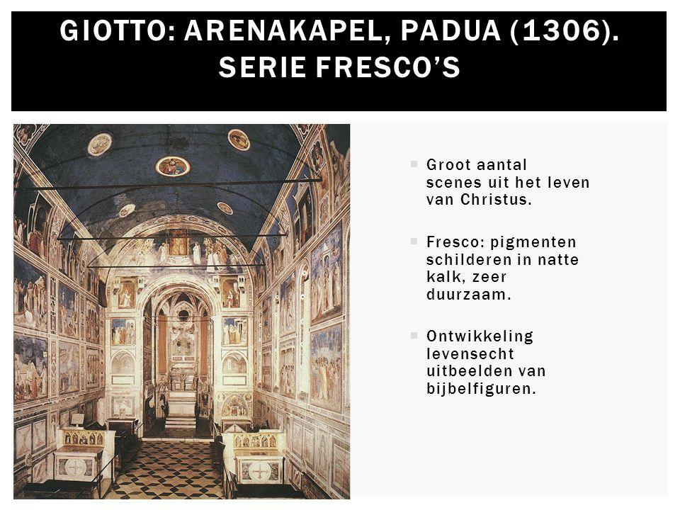  Groot aantal scenes uit het leven van Christus.  Fresco: pigmenten schilderen in natte kalk, zeer duurzaam.  Ontwikkeling levensecht uitbeelden va