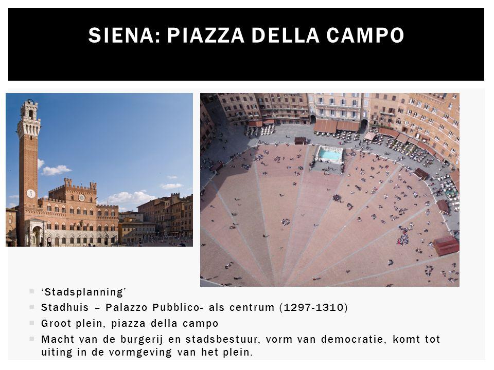  'Stadsplanning'  Stadhuis – Palazzo Pubblico- als centrum (1297-1310)  Groot plein, piazza della campo  Macht van de burgerij en stadsbestuur, vo