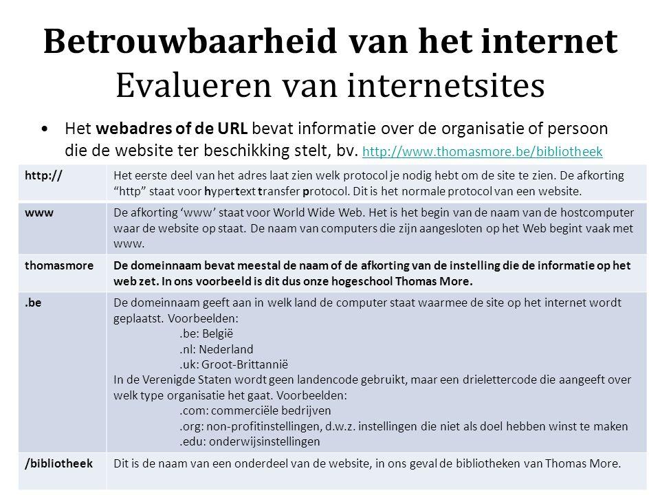 Betrouwbaarheid van het internet Evalueren van internetsites Het webadres of de URL bevat informatie over de organisatie of persoon die de website ter beschikking stelt, bv.