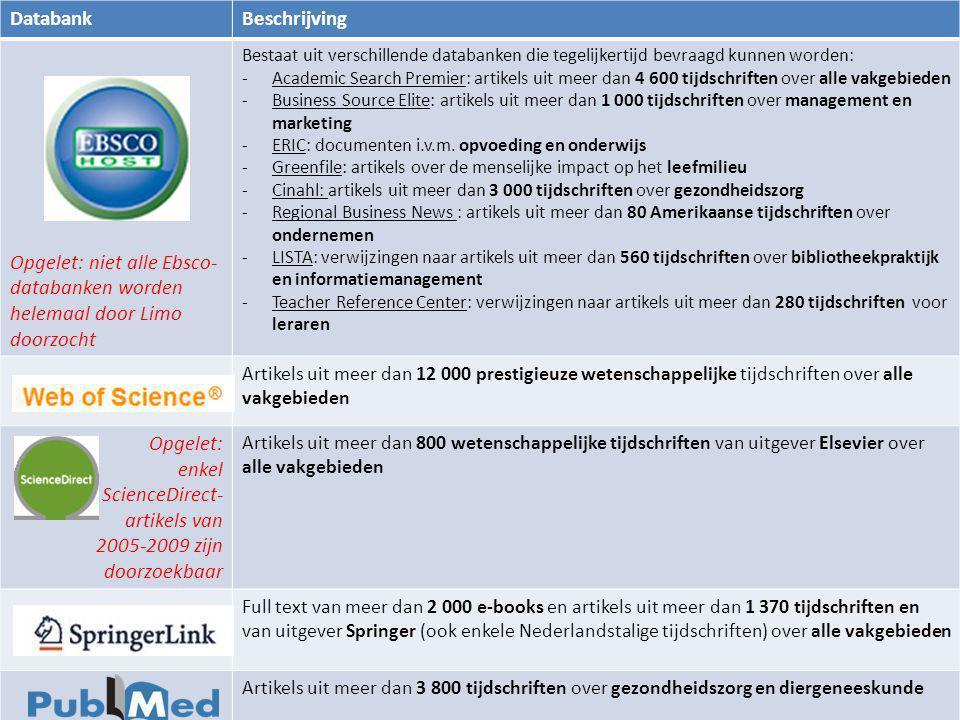 DatabankBeschrijving Opgelet: niet alle Ebsco- databanken worden helemaal door Limo doorzocht Bestaat uit verschillende databanken die tegelijkertijd