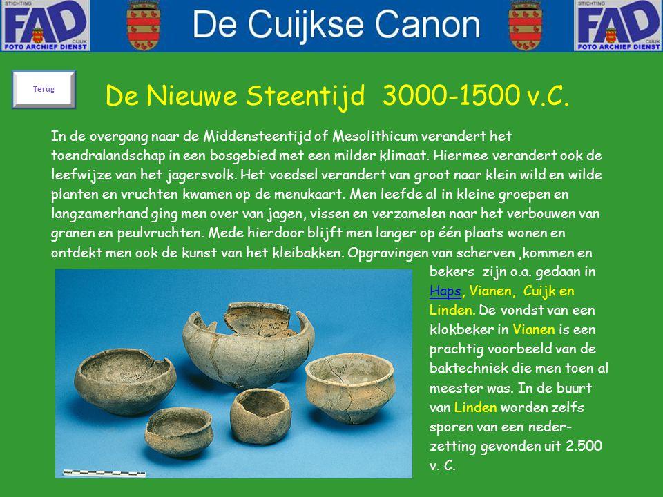 De Nieuwe Steentijd 3000-1500 v.C. In de overgang naar de Middensteentijd of Mesolithicum verandert het toendralandschap in een bosgebied met een mild