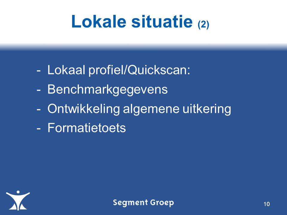 10 -Lokaal profiel/Quickscan: -Benchmarkgegevens -Ontwikkeling algemene uitkering -Formatietoets Lokale situatie (2)