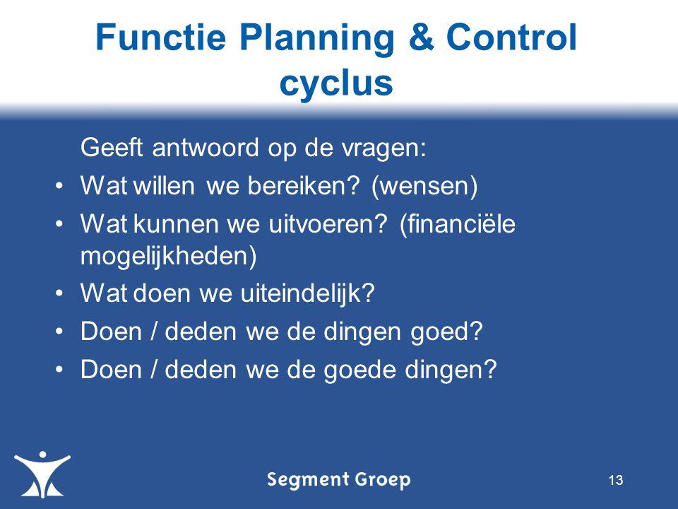 Functie Planning & Control cyclus 13 Geeft antwoord op de vragen: Wat willen we bereiken? (wensen) Wat kunnen we uitvoeren? (financiële mogelijkheden)