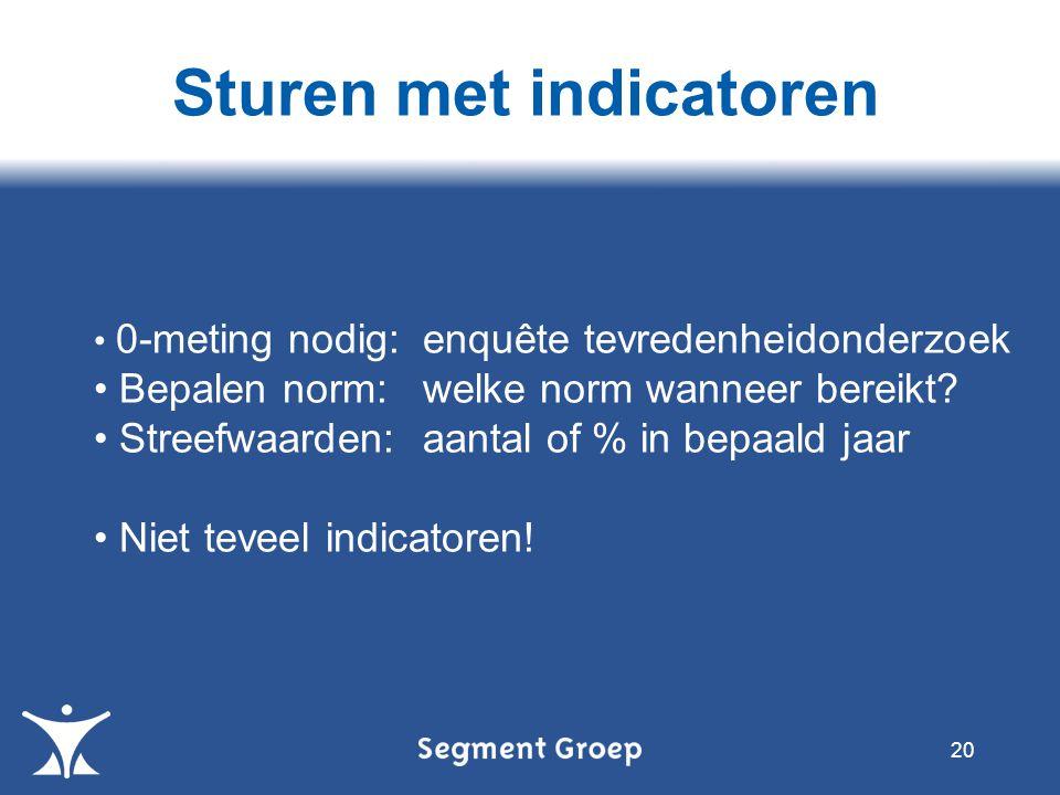 Sturen met indicatoren 20 0-meting nodig: enquête tevredenheidonderzoek Bepalen norm: welke norm wanneer bereikt? Streefwaarden: aantal of % in bepaal