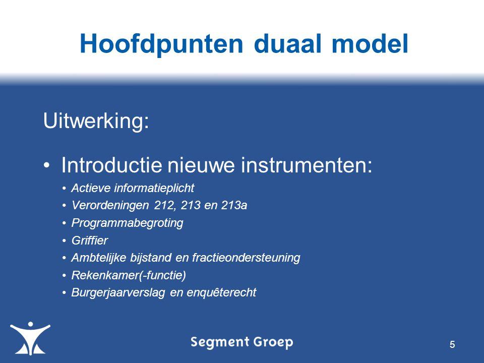 Hoofdpunten duaal model Uitwerking: Introductie nieuwe instrumenten: Actieve informatieplicht Verordeningen 212, 213 en 213a Programmabegroting Griffi