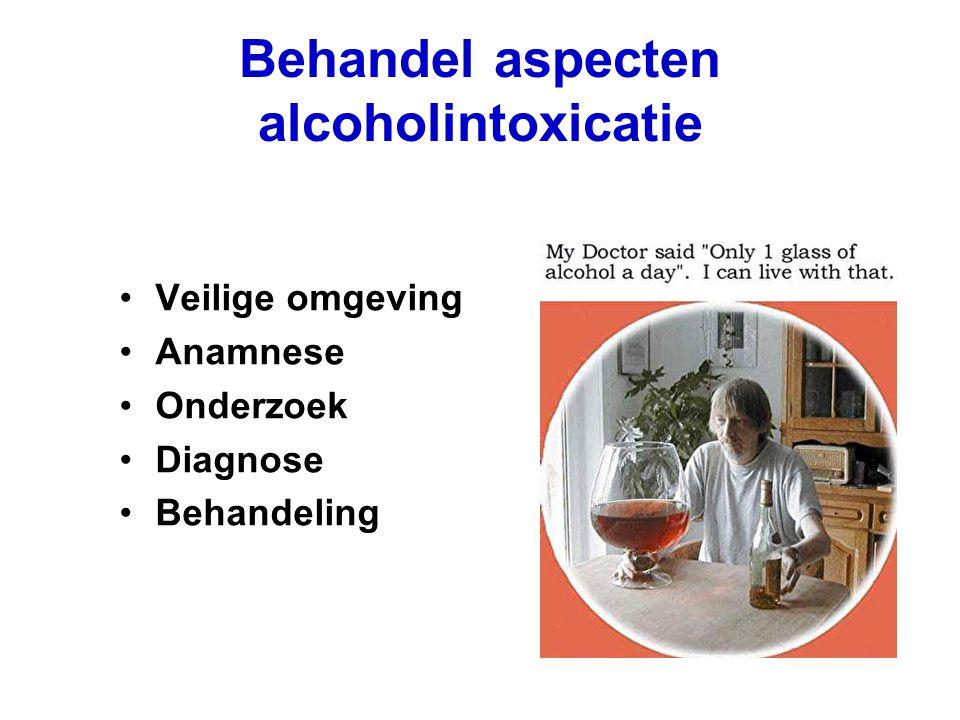 Behandel aspecten alcoholintoxicatie Veilige omgeving Anamnese Onderzoek Diagnose Behandeling