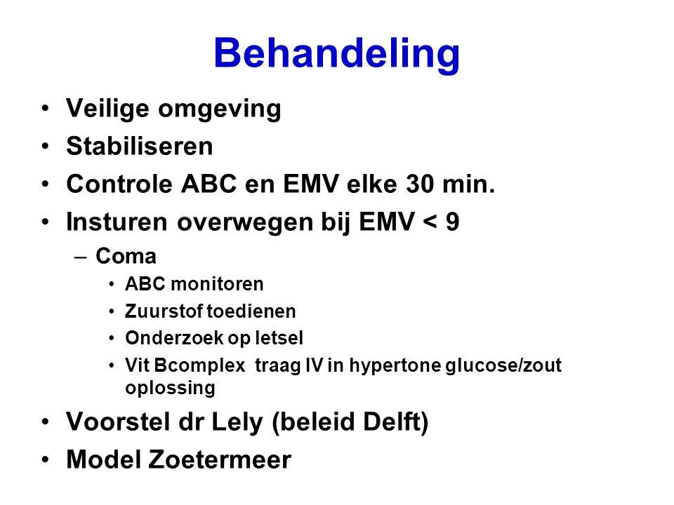 Behandeling Veilige omgeving Stabiliseren Controle ABC en EMV elke 30 min. Insturen overwegen bij EMV < 9 –Coma ABC monitoren Zuurstof toedienen Onder