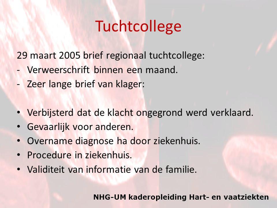 NHG-UM kaderopleiding Hart- en vaatziekten Tuchtcollege 29 maart 2005 brief regionaal tuchtcollege: -Verweerschrift binnen een maand. -Zeer lange brie
