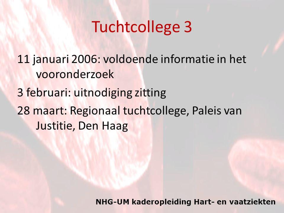 NHG-UM kaderopleiding Hart- en vaatziekten Tuchtcollege 3 11 januari 2006: voldoende informatie in het vooronderzoek 3 februari: uitnodiging zitting 28 maart: Regionaal tuchtcollege, Paleis van Justitie, Den Haag