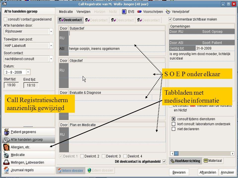 Call Registratiescherm aanzienlijk gewijzigd S O E P onder elkaar Tabbladen met medische informatie