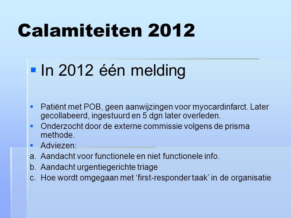 Calamiteiten 2012   In 2012 één melding   Patiënt met POB, geen aanwijzingen voor myocardinfarct.