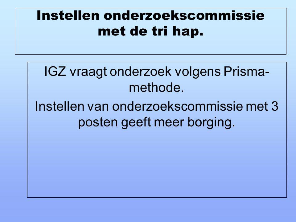 Instellen onderzoekscommissie met de tri hap. IGZ vraagt onderzoek volgens Prisma- methode. Instellen van onderzoekscommissie met 3 posten geeft meer