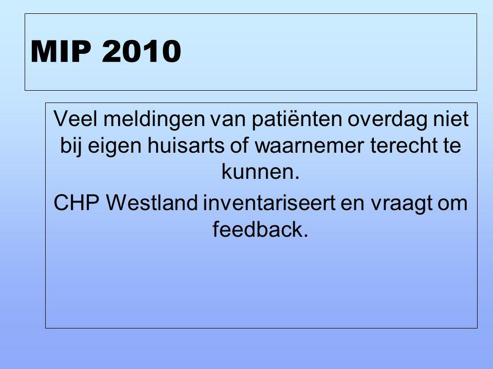 MIP 2010 Veel meldingen van patiënten overdag niet bij eigen huisarts of waarnemer terecht te kunnen. CHP Westland inventariseert en vraagt om feedbac