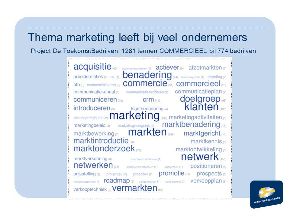Ondersteuning van ondernemers bij marketing Veel publieke partijen Regionaal georganiseerd Eigen producten en diensten Weinig afstemming seminars workshops coaching kringen advies