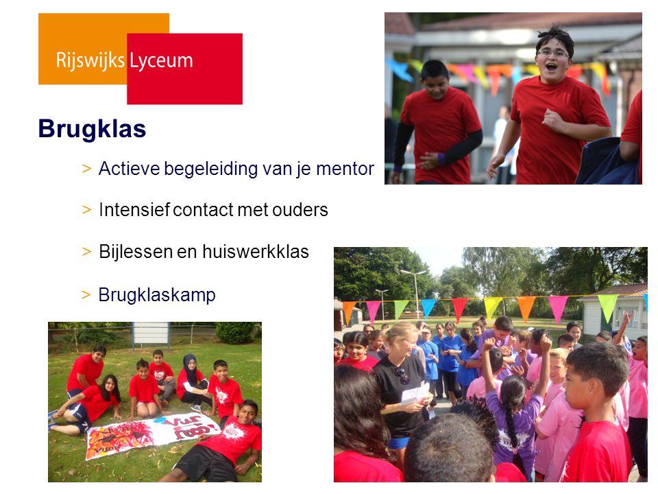 > Actieve begeleiding van je mentor > Intensief contact met ouders > Bijlessen en huiswerkklas > Brugklaskamp Brugklas
