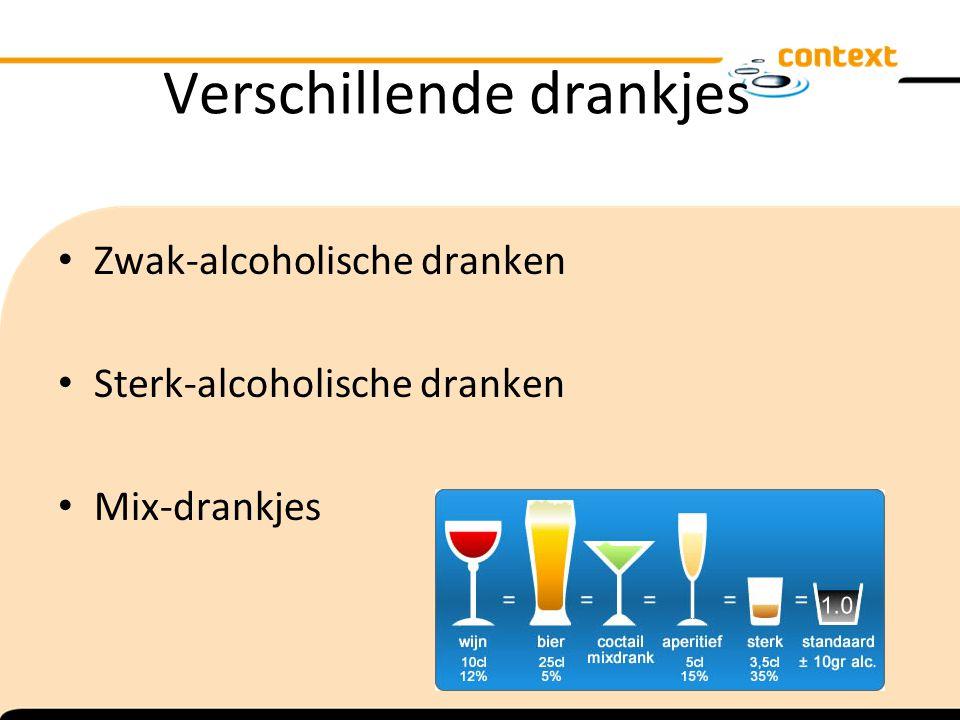 Verschillende drankjes Zwak-alcoholische dranken Sterk-alcoholische dranken Mix-drankjes