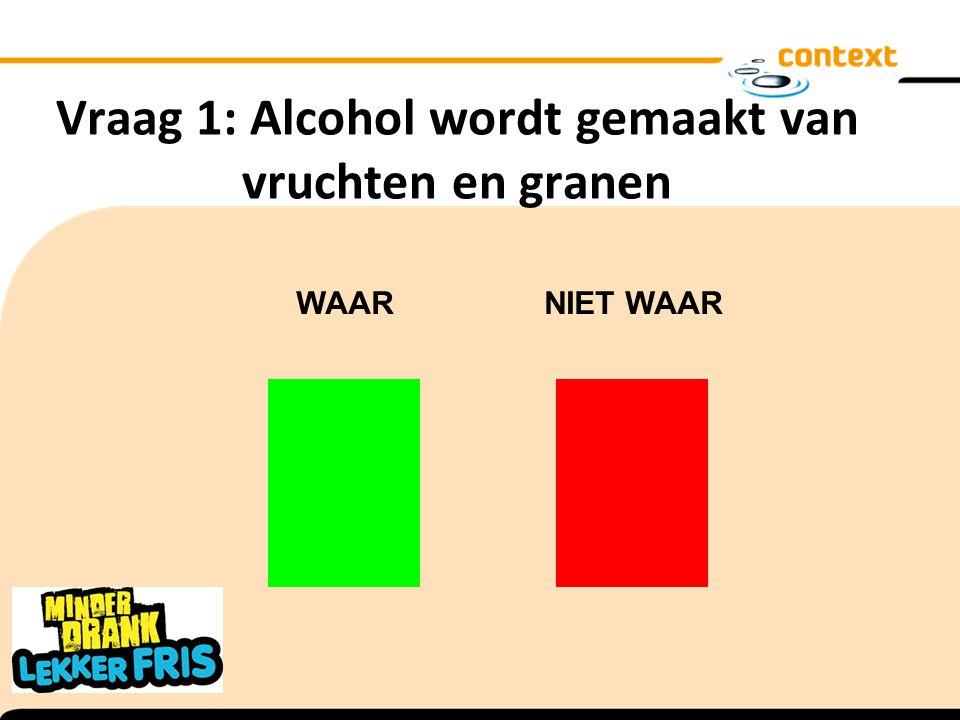 Vraag 1: Alcohol wordt gemaakt van vruchten en granen WAAR NIET WAAR