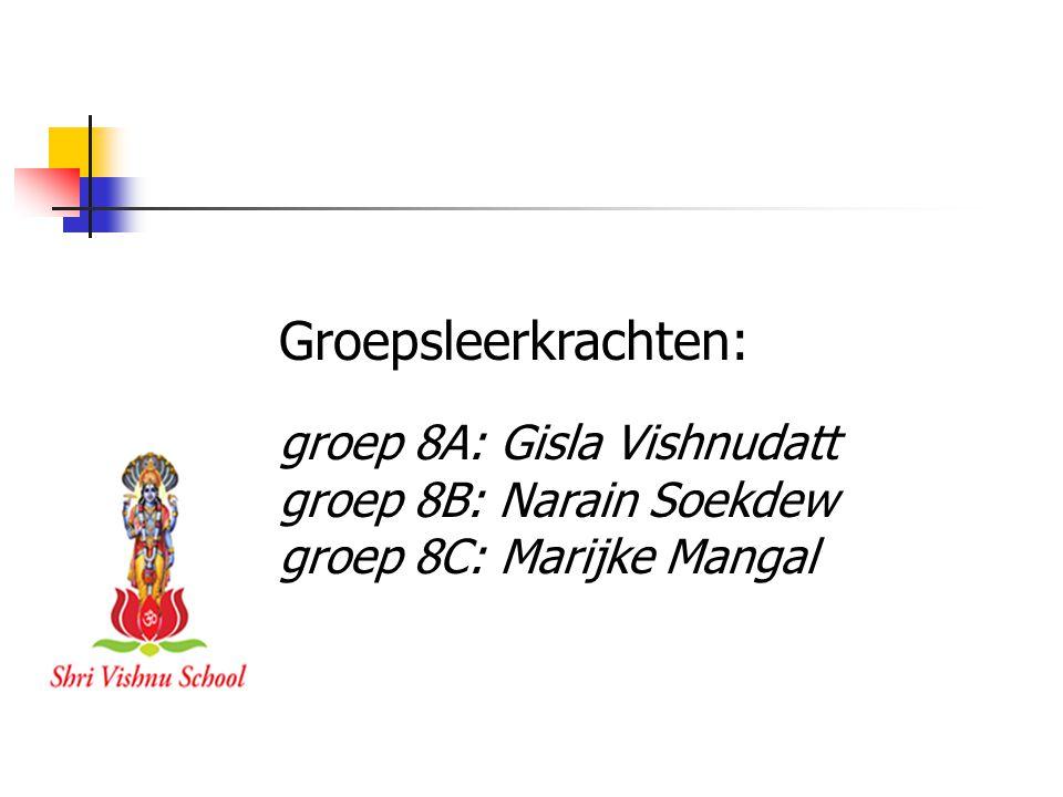 Groepsleerkrachten: groep 8A: Gisla Vishnudatt groep 8B: Narain Soekdew groep 8C: Marijke Mangal