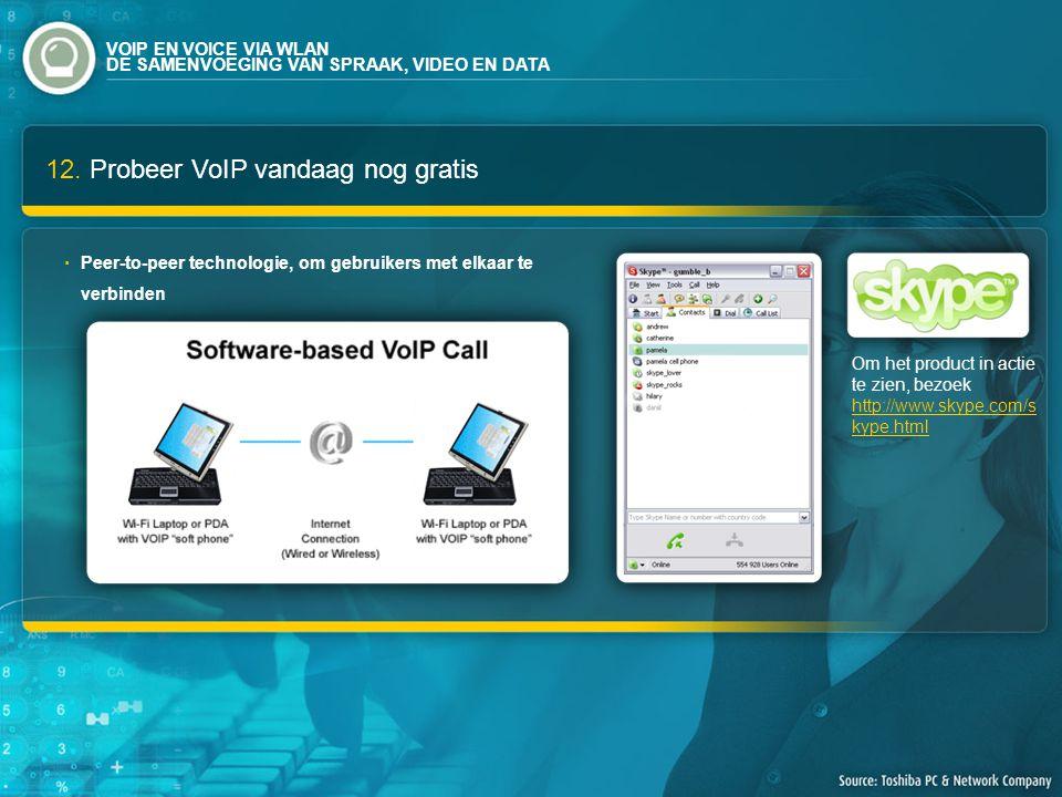 12. Probeer VoIP vandaag nog gratis Om het product in actie te zien, bezoek http://www.skype.com/s kype.html http://www.skype.com/s kype.html Peer-to-