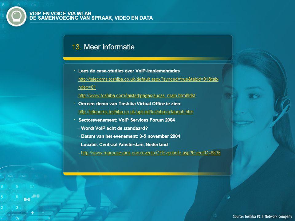 13. Meer informatie Lees de case-studies over VoIP-implementaties http://telecoms.toshiba.co.uk/default.aspx?synced=true&tabid=81&tabi ndex=81 http://