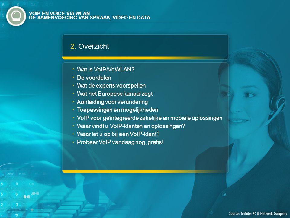 2. Overzicht Wat is VoIP/VoWLAN? De voordelen Wat de experts voorspellen Wat het Europese kanaal zegt Aanleiding voor verandering Toepassingen en moge
