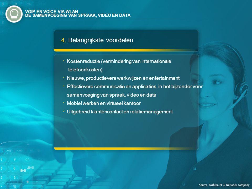 4. Belangrijkste voordelen Kostenreductie (vermindering van internationale telefoonkosten) Nieuwe, productievere werkwijzen en entertainment Effectiev