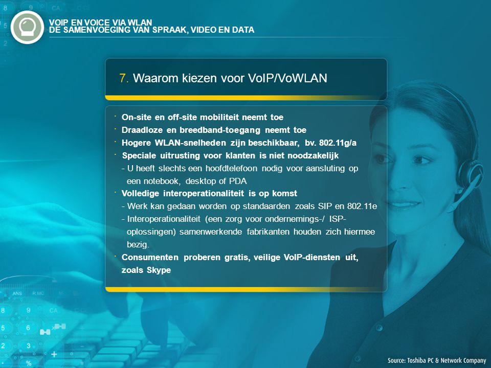 7. Waarom kiezen voor VoIP/VoWLAN On-site en off-site mobiliteit neemt toe Draadloze en breedband-toegang neemt toe Hogere WLAN-snelheden zijn beschik