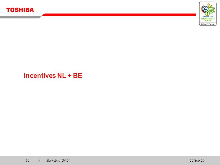 26 Sep 0510/Marketing Q4-0510 Incentives NL + BE