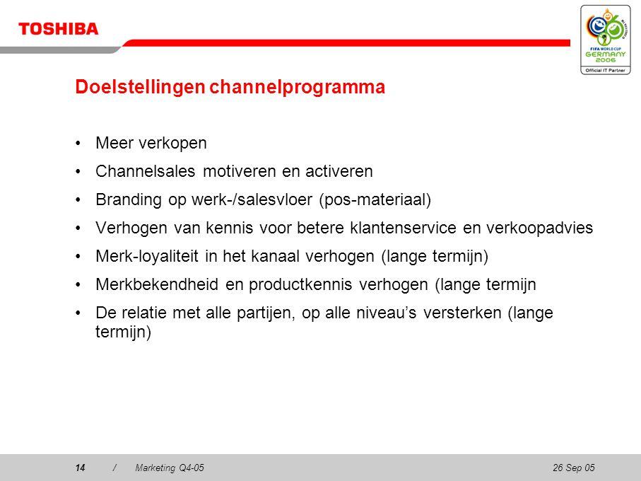 26 Sep 0514/Marketing Q4-0514 Doelstellingen channelprogramma Meer verkopen Channelsales motiveren en activeren Branding op werk-/salesvloer (pos-materiaal) Verhogen van kennis voor betere klantenservice en verkoopadvies Merk-loyaliteit in het kanaal verhogen (lange termijn) Merkbekendheid en productkennis verhogen (lange termijn De relatie met alle partijen, op alle niveau's versterken (lange termijn)