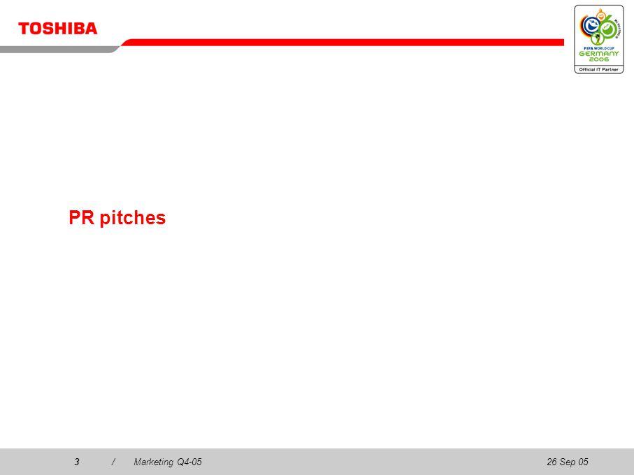 26 Sep 053/Marketing Q4-053 PR pitches