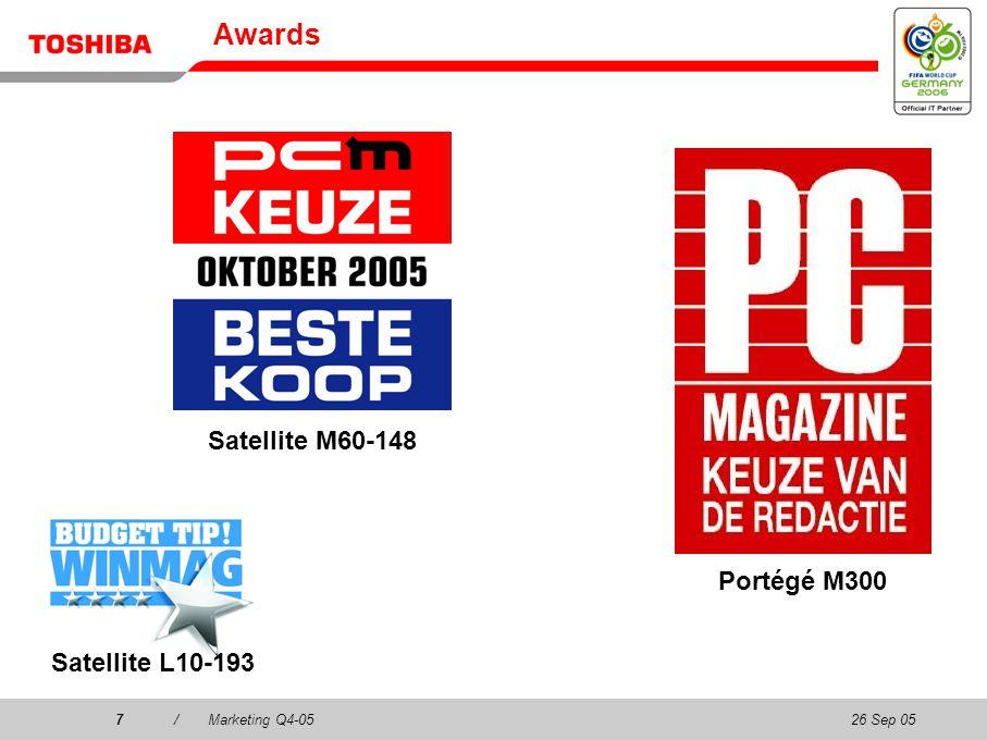 26 Sep 057/Marketing Q4-057 Awards Satellite L10-193 Portégé M300 Satellite M60-148