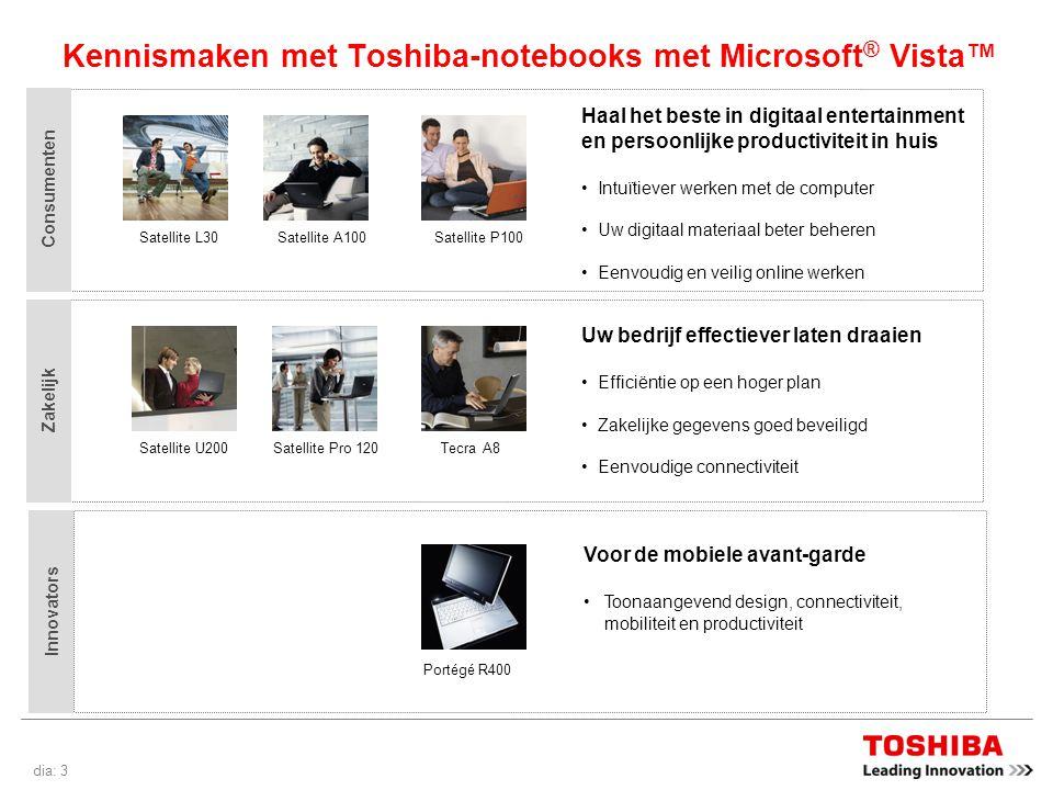 dia: 4 Waarom Microsoft ® Vista™ beter is met Toshiba-notebooks De komst van Microsoft ® Vista™ zorgt voor aanzienlijke verbeteringen in het gebruik van en de ervaring met computers.
