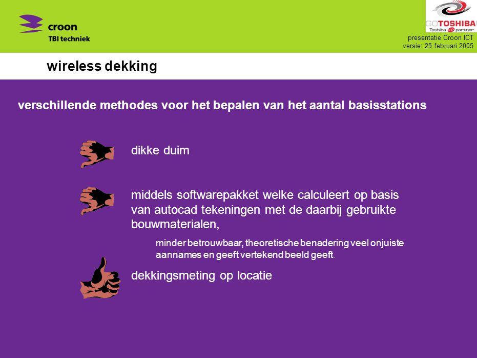 presentatie Croon ICT versie: 25 februari 2005 wireless dekking verschillende methodes voor het bepalen van het aantal basisstations dikke duim middel