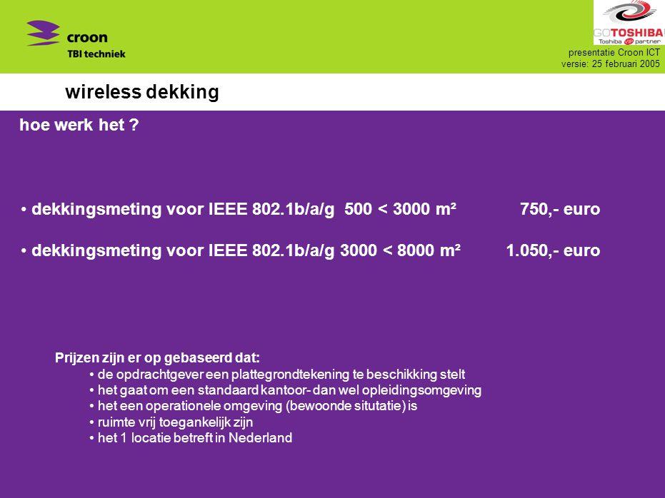 presentatie Croon ICT versie: 25 februari 2005 wireless dekking hoe werk het ? dekkingsmeting voor IEEE 802.1b/a/g 500 < 3000 m² 750,- euro dekkingsme