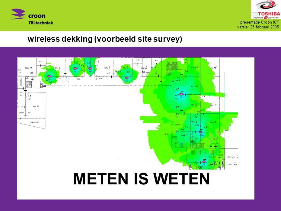 presentatie Croon ICT versie: 25 februari 2005 wireless dekking (voorbeeld site survey) METEN IS WETEN