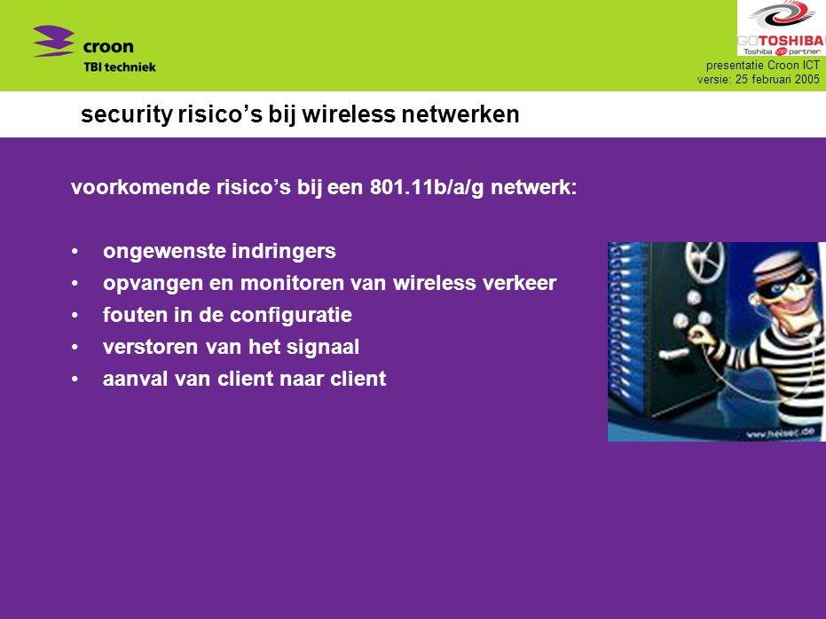 presentatie Croon ICT versie: 25 februari 2005 security risico's bij wireless netwerken voorkomende risico's bij een 801.11b/a/g netwerk: ongewenste i