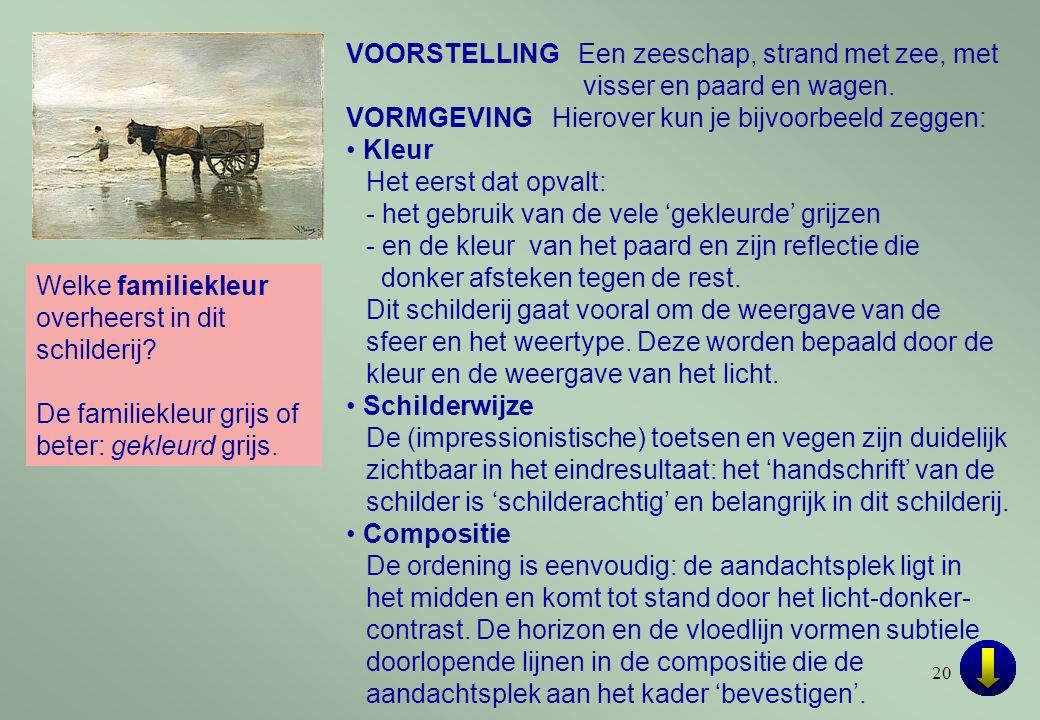 20 VOORSTELLING Een zeeschap, strand met zee, met visser en paard en wagen.