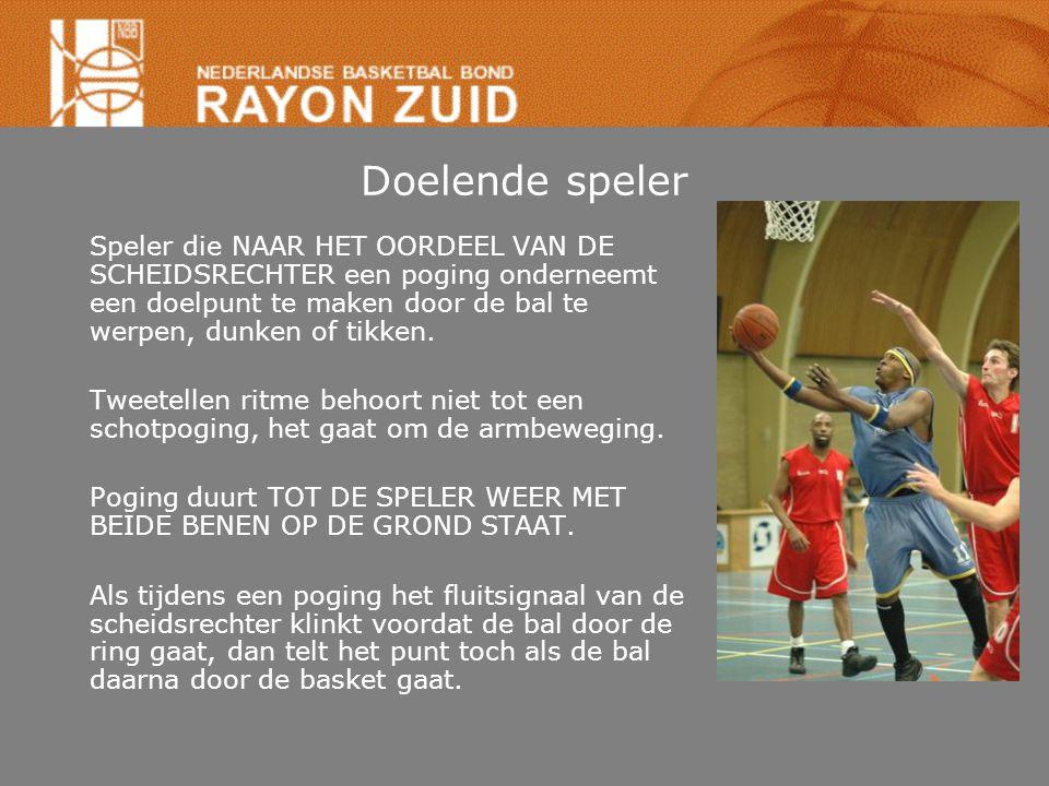 Doelende speler Speler die NAAR HET OORDEEL VAN DE SCHEIDSRECHTER een poging onderneemt een doelpunt te maken door de bal te werpen, dunken of tikken.