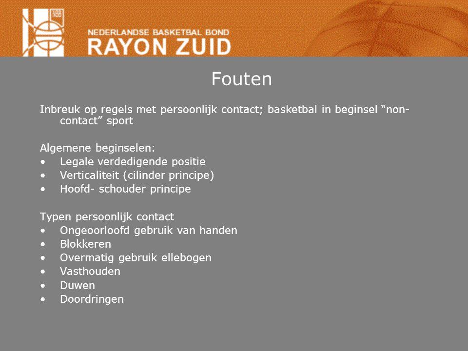 """Fouten Inbreuk op regels met persoonlijk contact; basketbal in beginsel """"non- contact"""" sport Algemene beginselen: Legale verdedigende positie Vertical"""