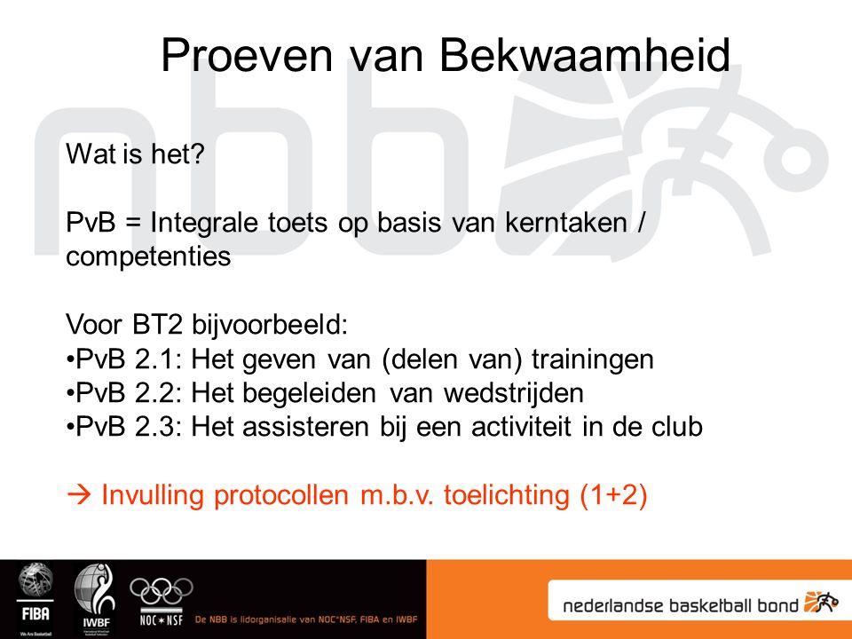 Proeven van Bekwaamheid Wat is het? PvB = Integrale toets op basis van kerntaken / competenties Voor BT2 bijvoorbeeld: PvB 2.1: Het geven van (delen v