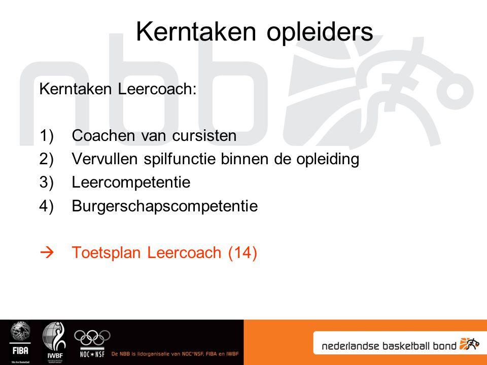 Kerntaken Leercoach: 1)Coachen van cursisten 2)Vervullen spilfunctie binnen de opleiding 3)Leercompetentie 4)Burgerschapscompetentie  Toetsplan Leercoach (14) Kerntaken opleiders