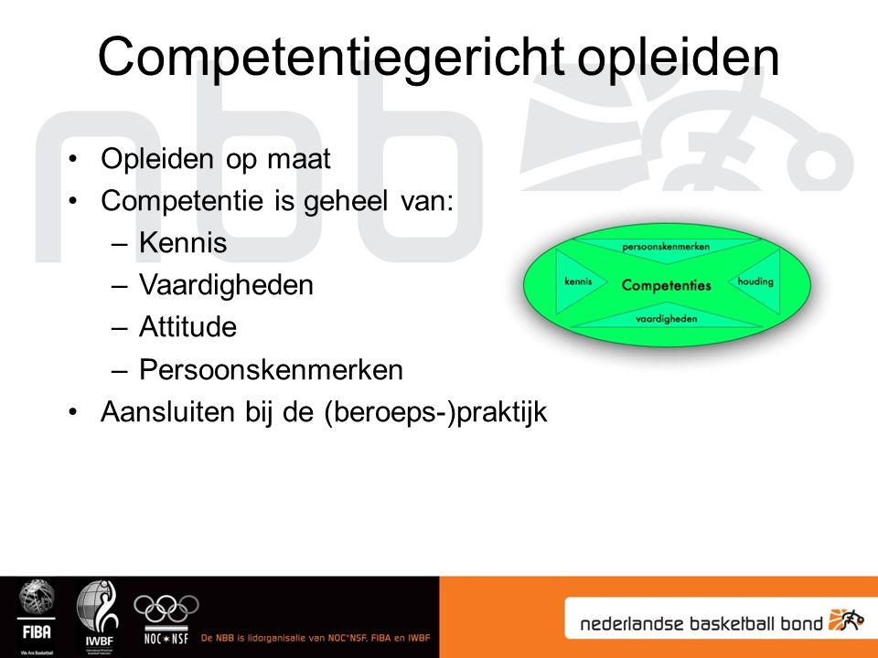Opleiden op maat Competentie is geheel van: –Kennis –Vaardigheden –Attitude –Persoonskenmerken Aansluiten bij de (beroeps-)praktijk Competentiegericht opleiden