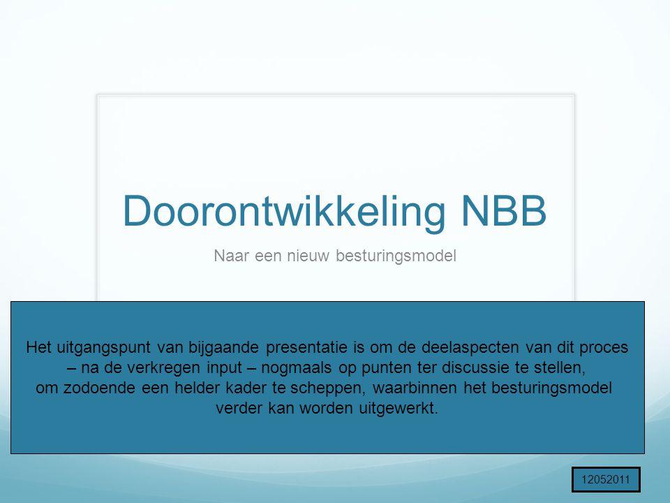 Doorontwikkeling NBB Naar een nieuw besturingsmodel Het uitgangspunt van bijgaande presentatie is om de deelaspecten van dit proces – na de verkregen input – nogmaals op punten ter discussie te stellen, om zodoende een helder kader te scheppen, waarbinnen het besturingsmodel verder kan worden uitgewerkt.