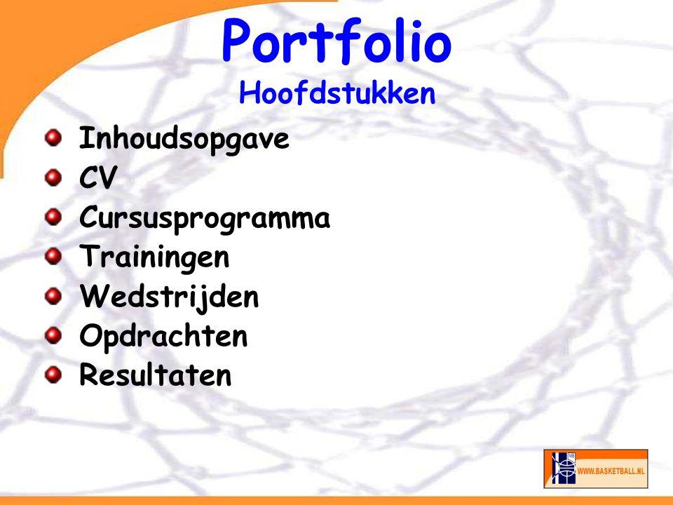 Portfolio Documentstructuur CV BPV ( LOGBOEK) Verslagen per training, wedstrijd.