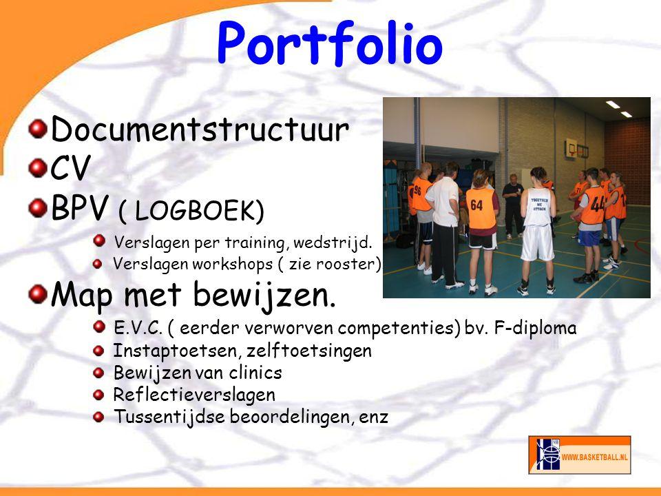 Portfolio Documentstructuur CV BPV ( LOGBOEK) Verslagen per training, wedstrijd. Verslagen workshops ( zie rooster). Map met bewijzen. E.V.C. ( eerder