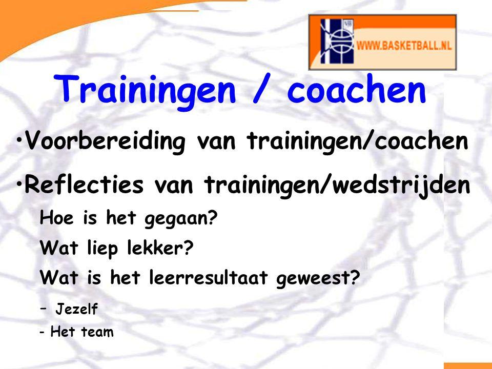 Van BCP naar opleidingsontwerp Trainingen / coachen Voorbereiding van trainingen/coachen Reflecties van trainingen/wedstrijden Hoe is het gegaan? Wat