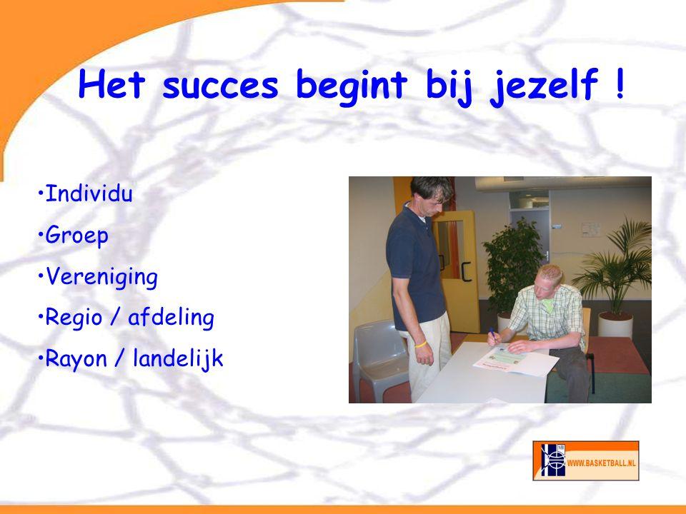 Het succes begint bij jezelf ! Individu Groep Vereniging Regio / afdeling Rayon / landelijk