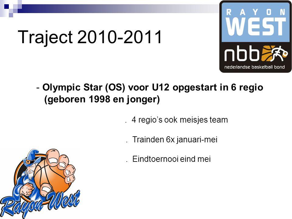 Traject 2010-2011 - Olympic Star (OS) voor U12 opgestart in 6 regio (geboren 1998 en jonger).