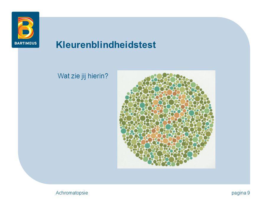 Achromatopsiepagina 9 Kleurenblindheidstest Wat zie jij hierin?
