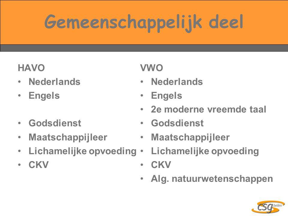 Gemeenschappelijk deel HAVO Nederlands Engels Godsdienst Maatschappijleer Lichamelijke opvoeding CKV VWO Nederlands Engels 2e moderne vreemde taal God
